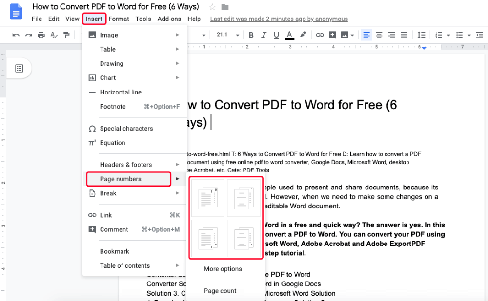 Google Docs Insert Page Number