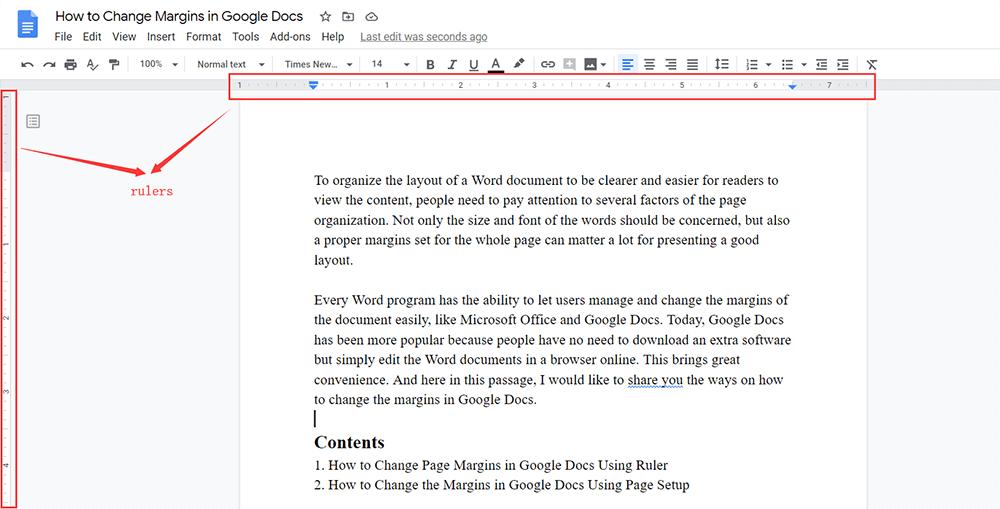 Google Docs Rulers