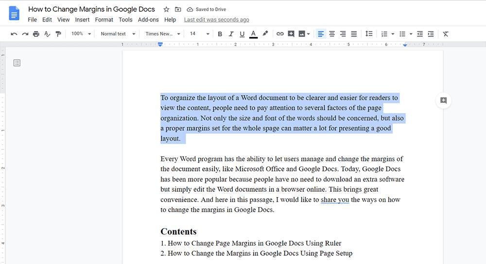 Google Docs Select Content