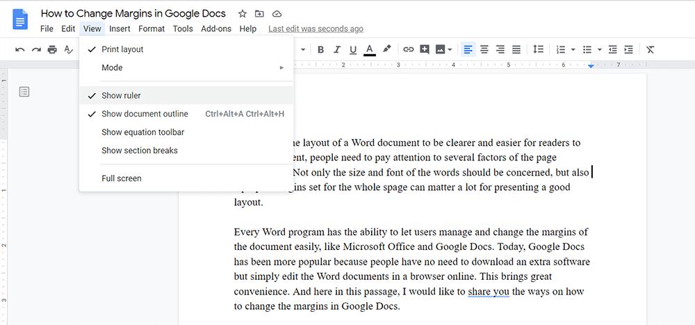 Google Docs Show Ruler