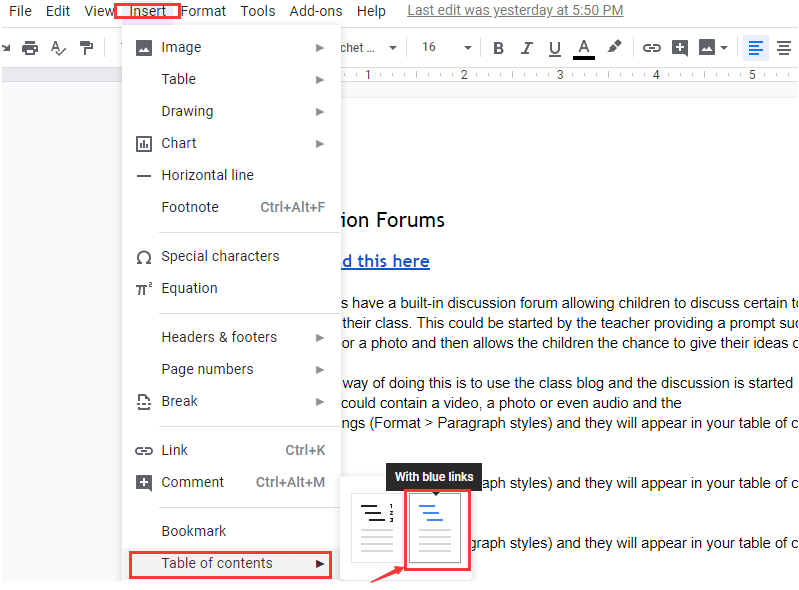 Tabla de contenido de Google Docs con enlaces azules