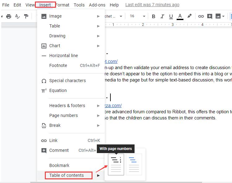 Tabla de contenido de Google Docs con números de página