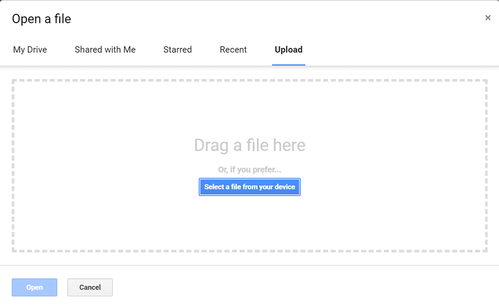 Google Docs Carica documento Word