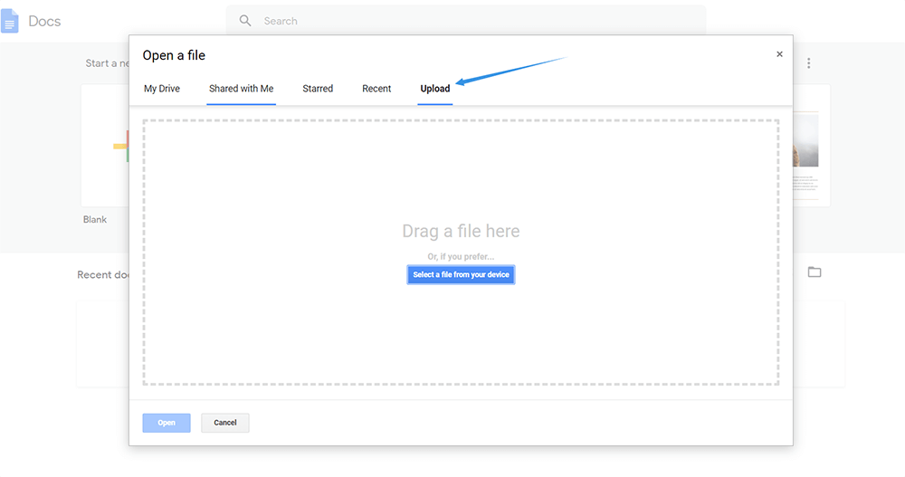 Google Docs Upload Document