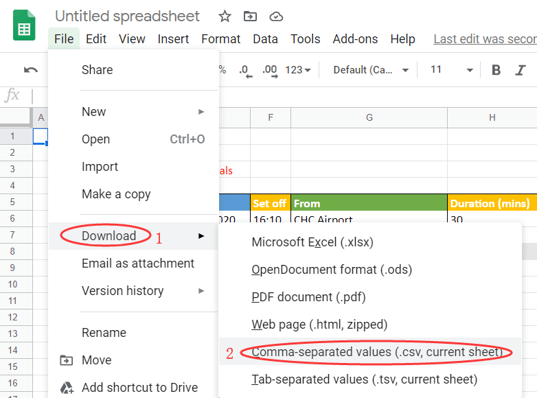 Google Sheets Save As CSV