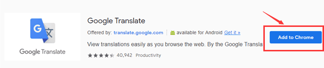 Google Translate Add to Chrome