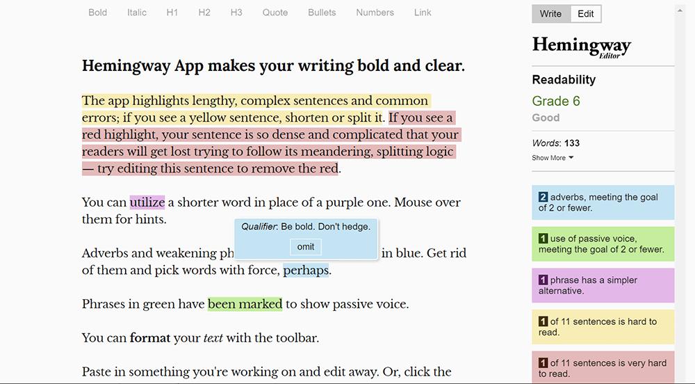 Hemingwayオンライン文法チェッカー