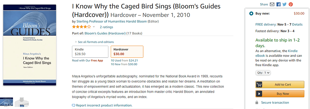 I Know Why the Caged Bird Sings Hardcover