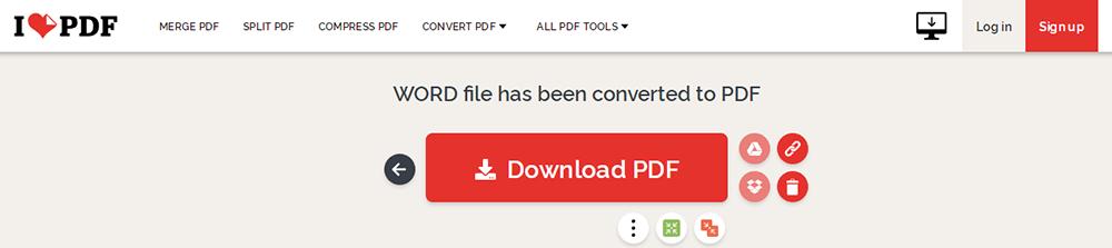 iLovePDF Descarga de DOCX a PDF