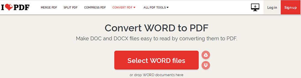 iLovePDF DOCX a PDF