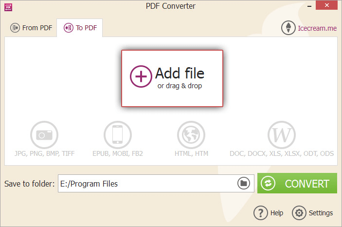 Icecream PDF Converter Add File