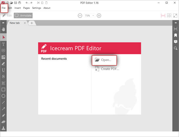 IceCream PDF Editor Open File