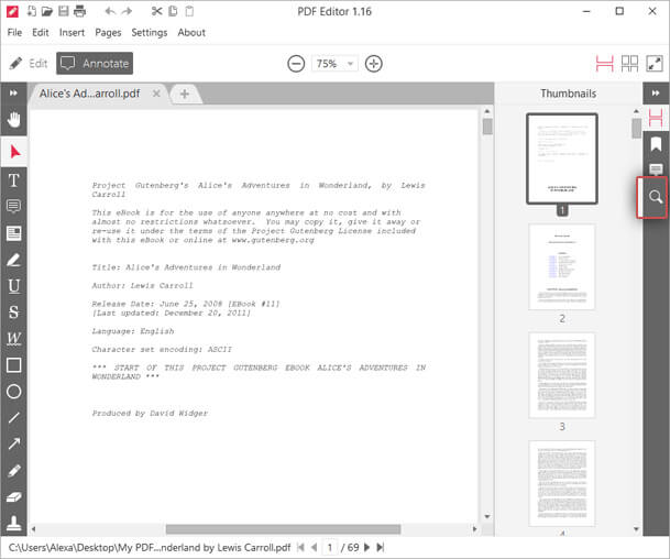 IceCream PDF Editor Search Mode