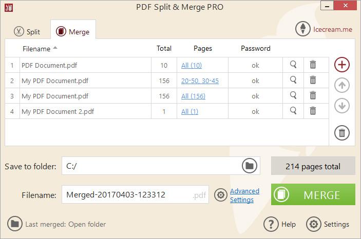 Icecream PDF Split & Merge Merge Files