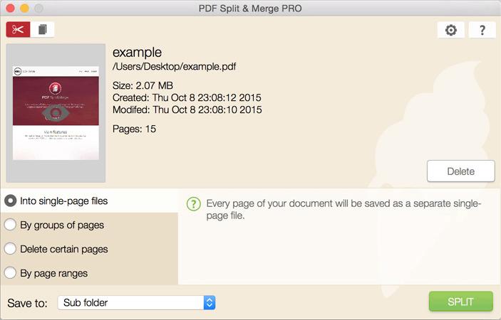 Icecream PDF Split & Merge Modos de división