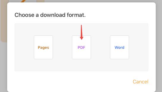 iCloud Descargar una copia PDF