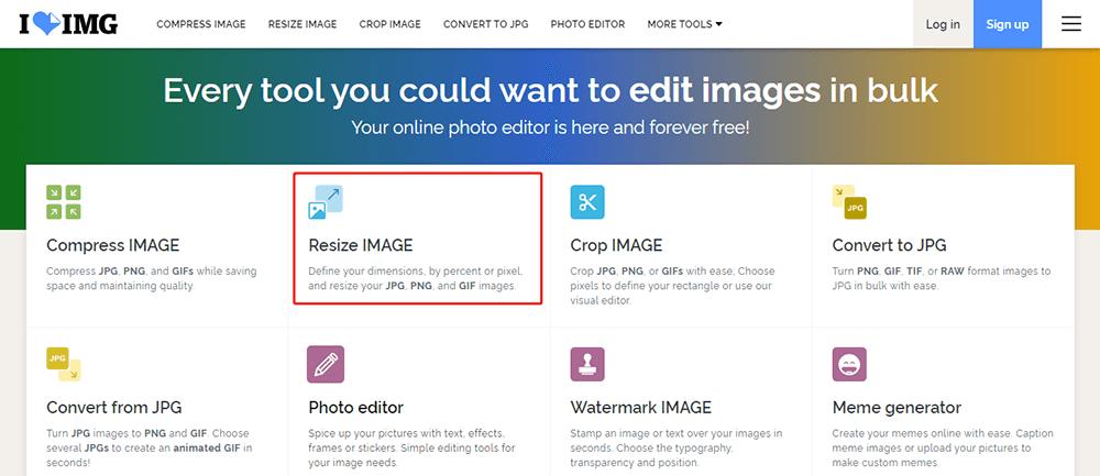 iLoveIMG Homepage Resize Image