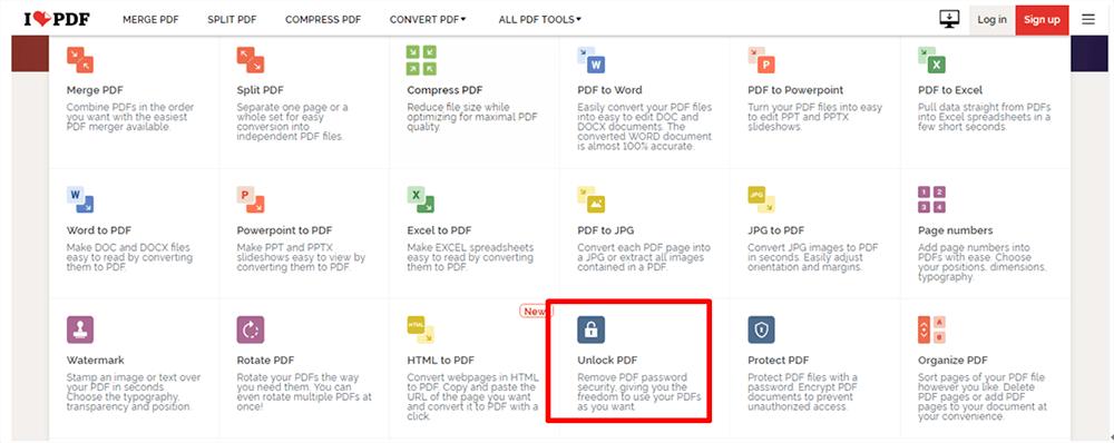 Página de inicio de iLovePDF Todas las herramientas PDF