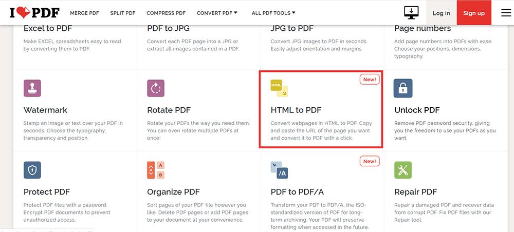 iLovePDF Homepage HTML zu PDF