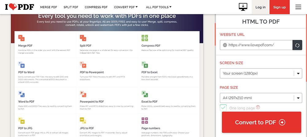 iLovePDF HTML to PDF Legen Sie die Größe fest