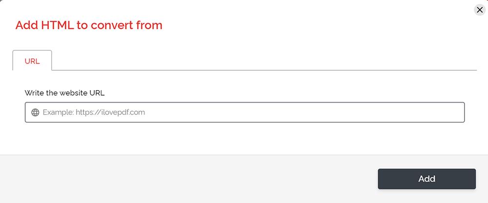 iLovePDF HTML a PDF Escriba la URL