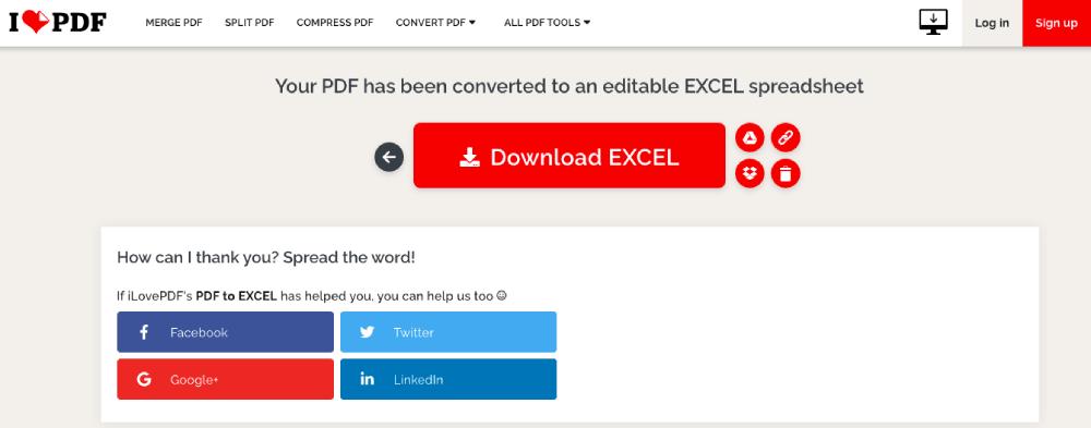 iLovePDF PDF to Excel Converter