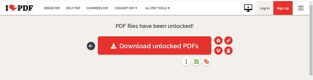 iLovePDF Desbloquear PDF Descargar