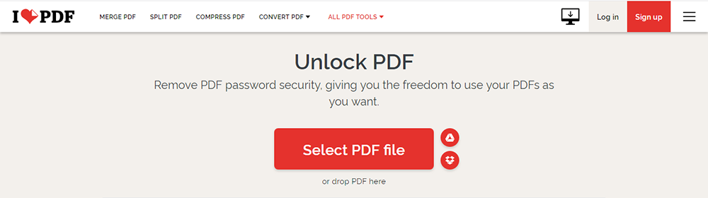 iLovePDF Unlock PDF Select Files