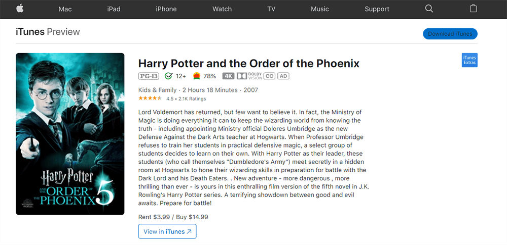 iTunes Harry Potter and the Order of the Phoenix