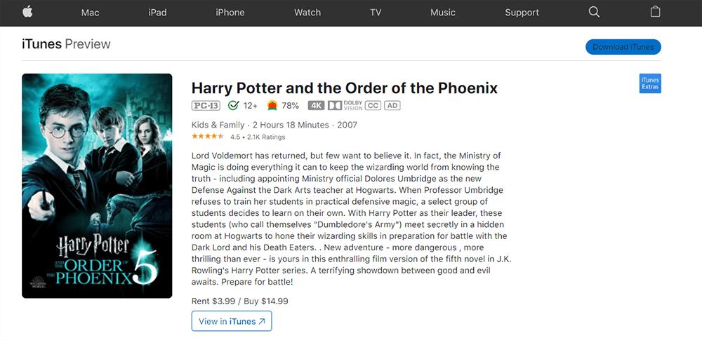 iTunes Harry Potter und der Orden des Phönix