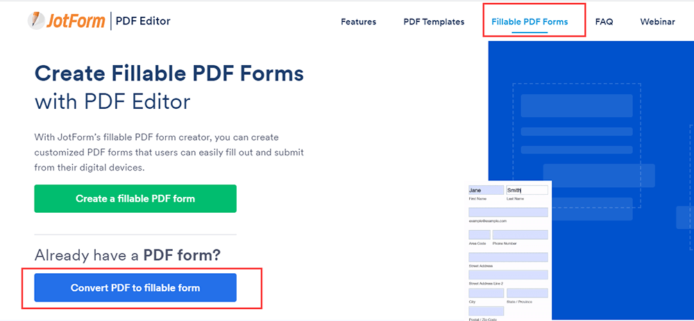 JotForm Convert PDF to Fillable Form