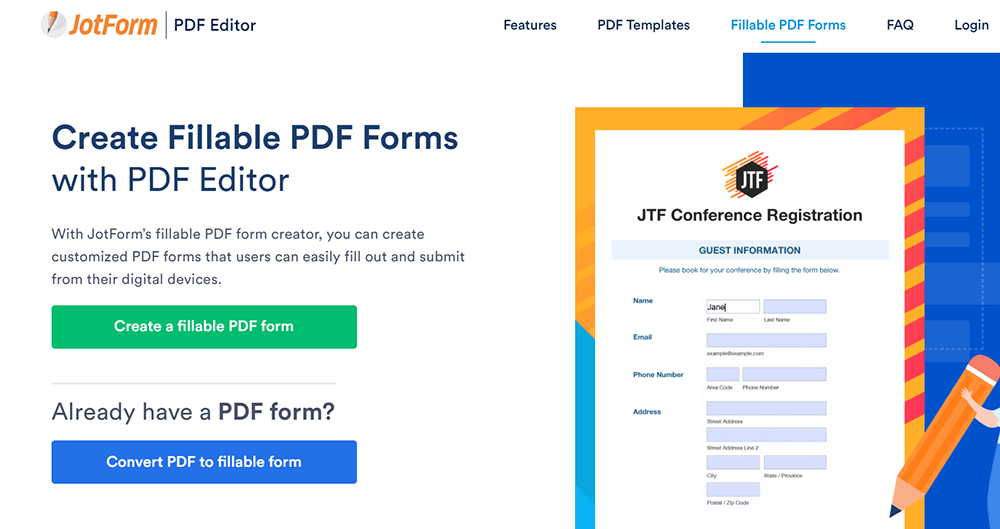 JotForm Fillable PDF Forms Create a Fillable PDF