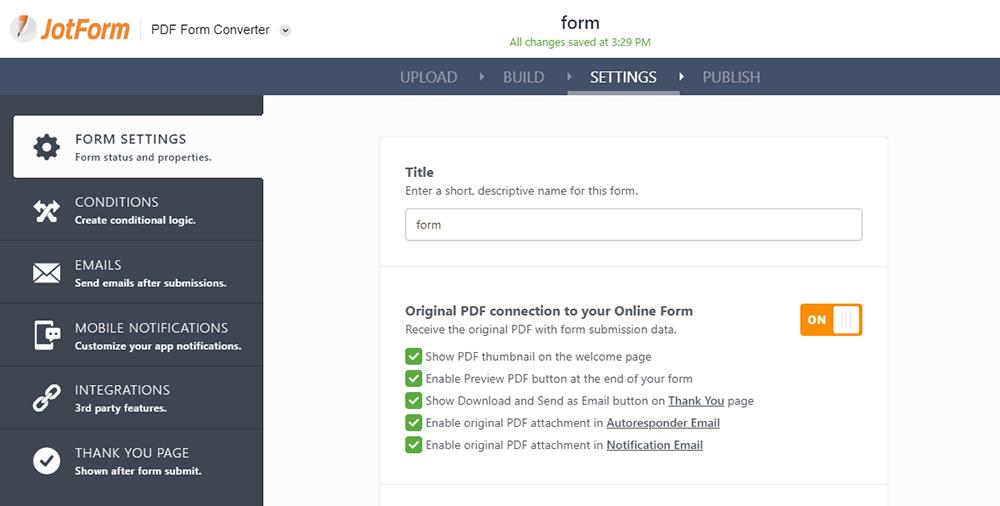 Configuración de JotForm