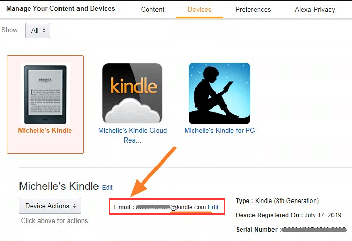 Kindle Manage Your Devices Address