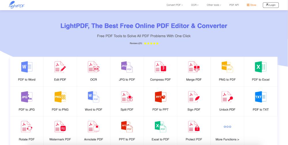 Homepage di LightPDF