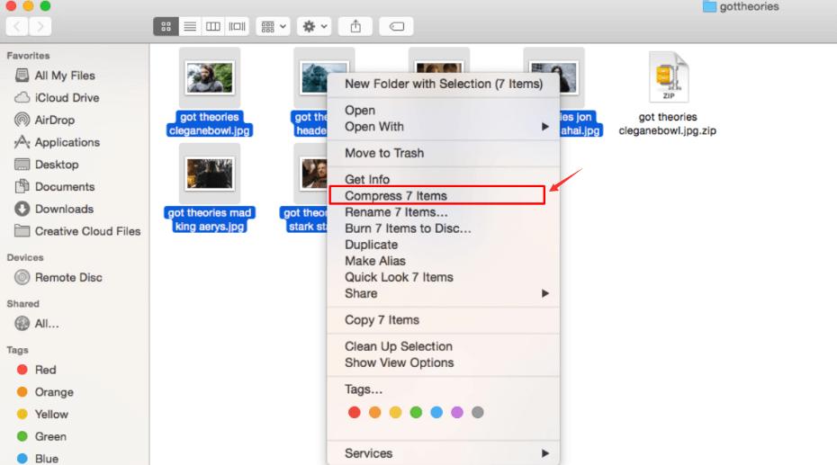 Mac Finder Compress File
