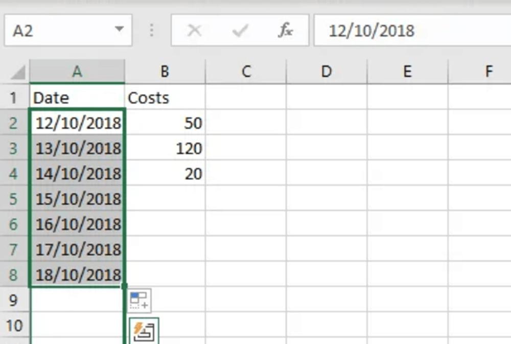 Datos de Autocompletar de Microsoft Excel