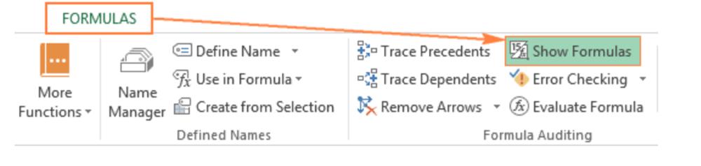 Microsoft Excel FORMULAS Show formulas