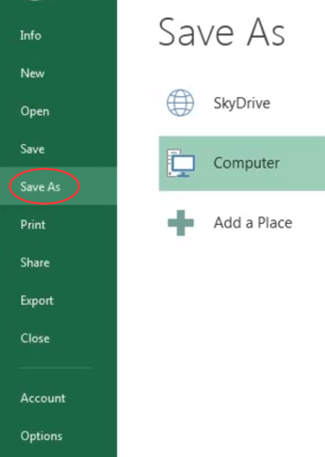 Microsoft Excel Save As