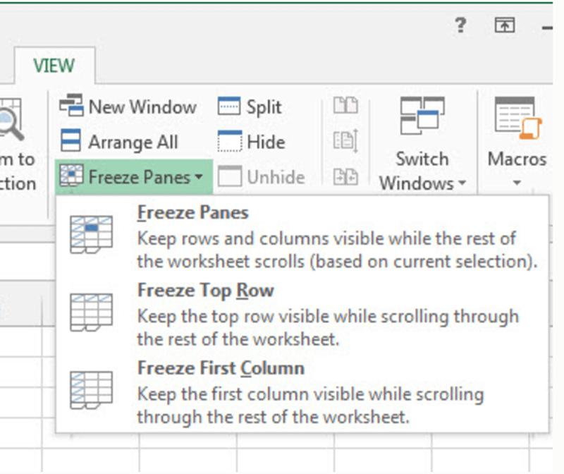 Paneles de congelación de vista de Microsoft Excel