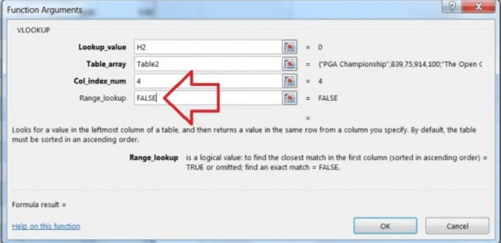 Argumentos de la función BUSCARV de Microsoft Excel