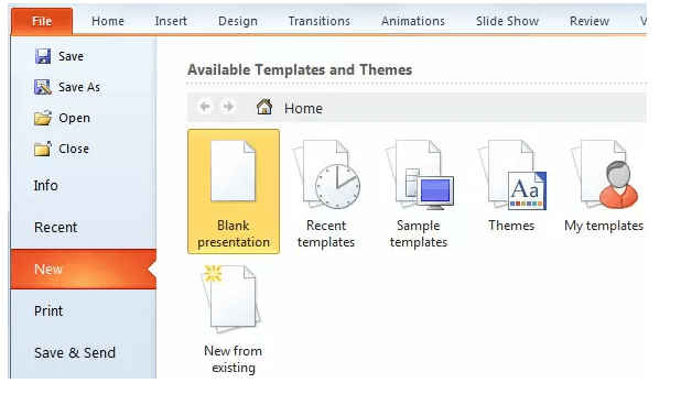 Microsoft PowerPoint File New Blank Presentation