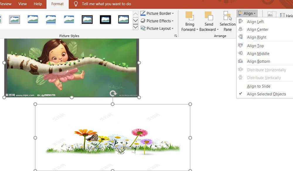 Allinea formato formato strumenti immagine di Microsoft PowerPoint