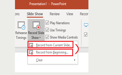 Microsoft PowerPoint Record Slide Show Choose Options