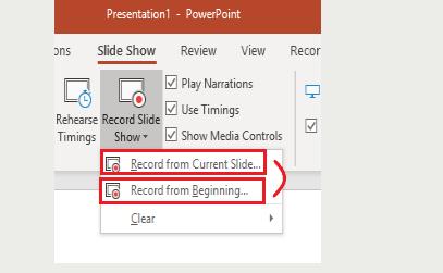 Microsoft PowerPoint Record-Diashow Wählen Sie Optionen
