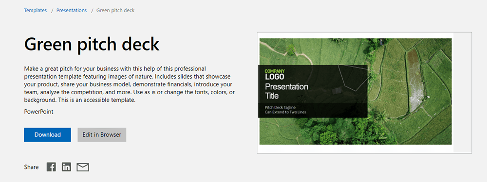 Microsoft PowerPoint Template Green Pitch Deck