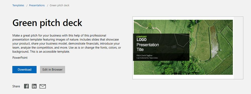 Microsoft PowerPoint-Vorlage Green Pitch Deck