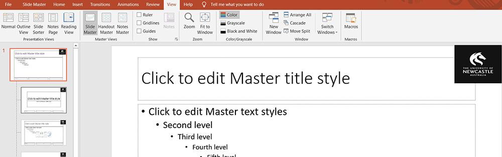 Microsoft PowerPoint Visualizza diapositiva master Inserisci immagini