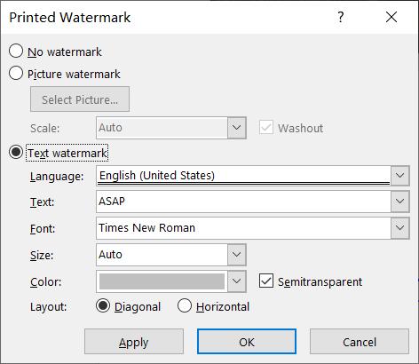 Configuración de marca de agua de Microsoft