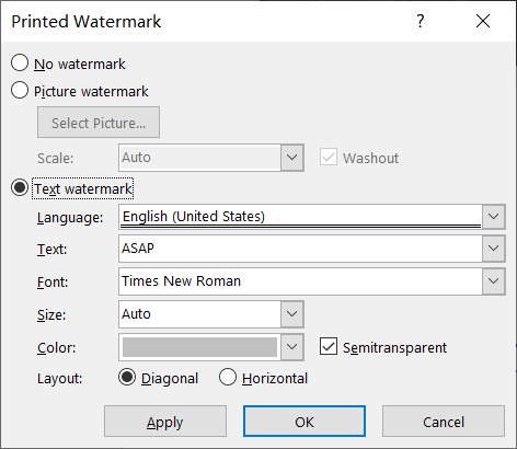 Microsoft Watermark settings